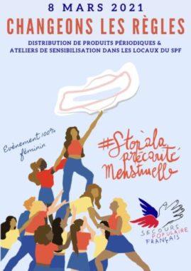 Affiche pour la collecte et la distribution de protections périodiques. © Secours populaire de l'Isère -