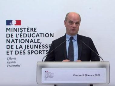 Jean-Michel Blanquer lors de sa conférence de presse du 26 mars 2021. (Capture écran)