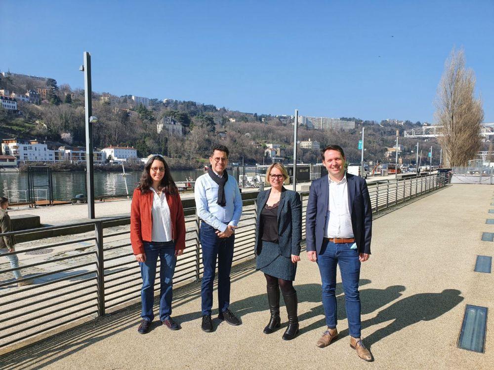 Régionales en Aura. De gauche à droite, Magali Romaggi et Gabriel Amard (LFI), Cécile Cukierman et Boris Bouchet (PCF) © PCF