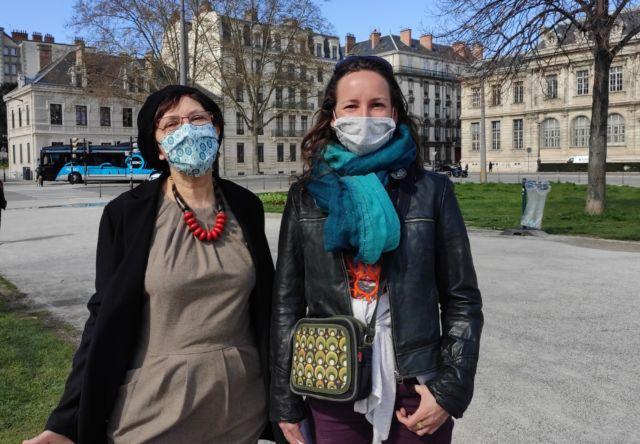 Patricia Ospelt et Julie Martin, du Collectif contre la privatisation d'Actis © Florent Mathieu - Place Gre'net