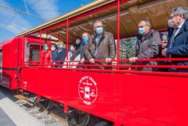 Le petit train de La Mure sera ouvert au public en juin 2021. Le président du département Jean-Pierre Barbier. © Département de l'Isère