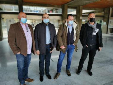 De gauche à droite : Daniel Chaumette, délégué national syndicat Alliance Police, Yannick Biancheri, représentant départemd'ental, Fabien Vanhemelryck, secrétaire général et Pierre Tholly, le secrétaire régional Auvergne-Rhône-Alpes.