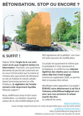 Le tract du collectif Île Verte sur le projet immobilier du quai Jongkind (cliquer pour agrandir). © Collectif ïle Verte