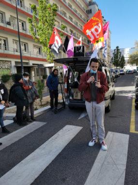 « Le gouvernement veut nous faire payer la crise », a affirmé un représentant de l'Unef Grenoble. © Joël Kermabon - Place Gre'net