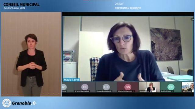 Maud Tavel lors du conseil municipal du lundi 29 mars 2021. Capture d'écran