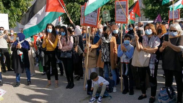 Nouveau rassemblement pour la Palestine à Grenoble. © Joël Kermabon - Place Gre'net