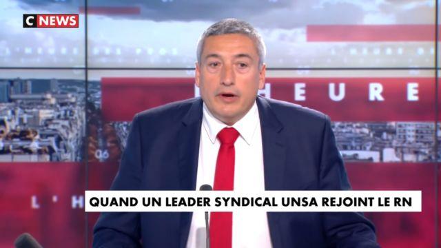 Stéphane Blanchon, secrétaire général de l'Unsa, a annoncé son ralliement au candidat RN André Kotarac pour les régionales lors de l'émission de Pascal Praud sur CNews le 5 mai 2021 © CNews