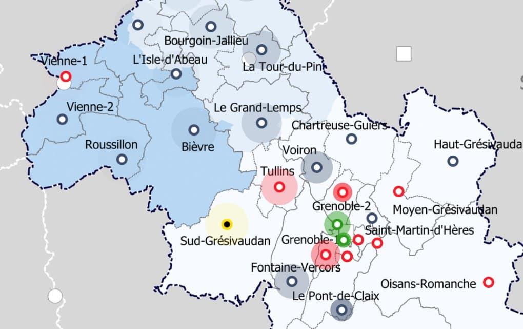Résultats des élections départementales 2021 en Isère avec la carte interactive de Place Gre'net, canton par canton.