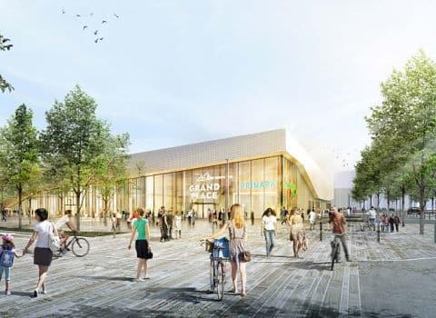 COUV Illustration du projet d'extention, de rénovation et de requalification du centre commercial Grand'place situé sur Echirolles et Grenoble. Début des travaux en 2020. Crédit L35 et C. Pedrotti