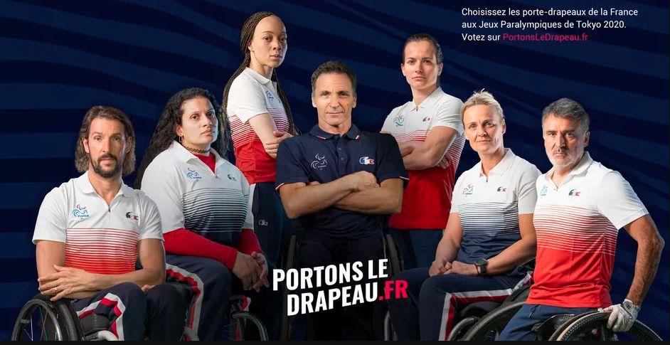 Les sept candidats pour être porte-drapeaux paralympiques aux Jeux de Tokyo. © CPSF