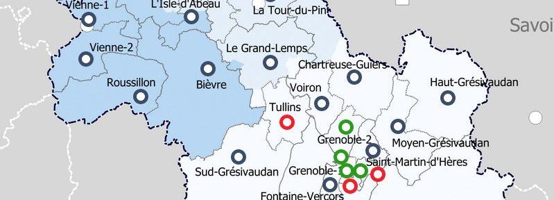 Carte interactive des résultats du second tour des départementales canton par canton en Isère.