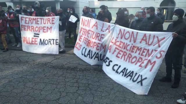 Mobilisation des salariés de Ferropem mardi 13 avril. Photo Twitter compte Emilie Marche