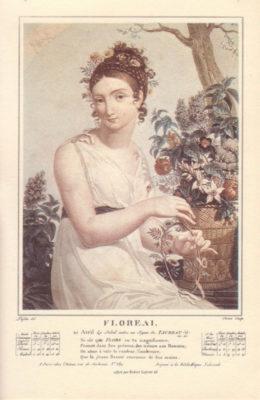 Gravure illustrant le mois Floréal du calendrier révolutionnaire français. Auteurs : Tresca, Salvatore (Graveur) – Lafitte, Louis (Dessinateur du modèle)
