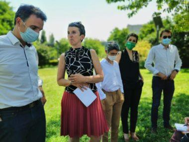 De gauche à droite : Éric Piolle, Fabienne Grébert, Sandrine Rousseau, Laïdouni-Denis et Laurent Amadieu. © Joël Kermabon - Place Gre'net