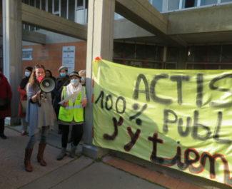 Manifestation contre la fusion entre Actis et Grenoble Habitat mercredi 10 mars 2021. © Tim Buisson – Place Gre'net