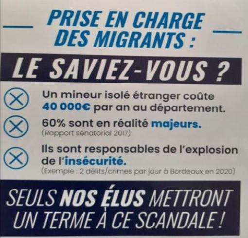 """Suite à cet encadré dans un tract du RN sur la """"prise en charge des migrants"""" et les mineurs isolés, le Printemps isérois annonce saisir les procureurs de l'Isère"""