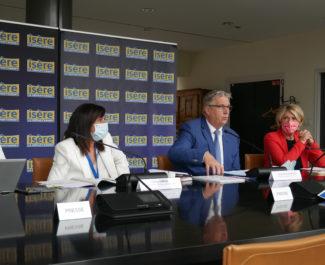 Jean-Pierre Barbier, Martine Kohly, Cathy Simon et Severin Battin lors de la conférence de presse du 13 juillet 2021 (c) Ilan Khalifa--Delclos | Place Gre'net