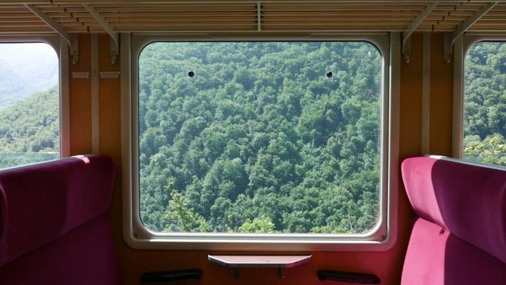 Vue depuis l'intérieur d'une nouvelle cabine du petit train de la Mure lors de son lancement le 20 juillet 2021 (c) Ilan Khalifa--Delclos | Place Gre'net