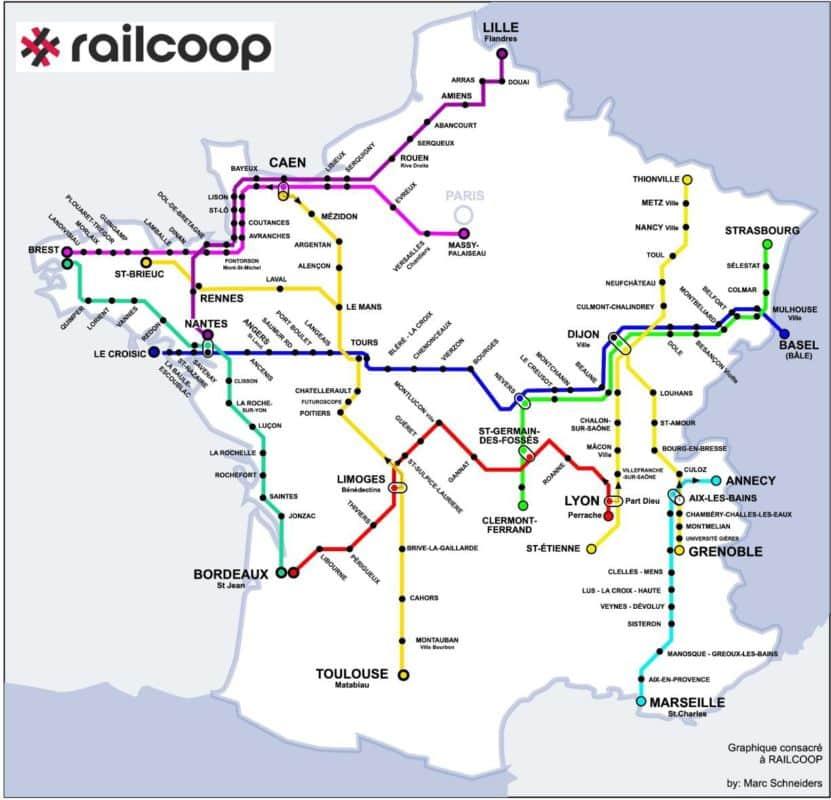 Les différents projets de lignes ferroviaires déposés par Railcoop à l'Autorité de régulation des transports comprend un trajet Grenoble-Thionville, ainsi qu'un Annecy-Marseille direct © Railcoop