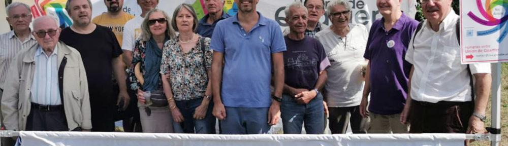 Treize représentants des unions de quartier étaient présent lors de cette AG. Au centre, Guy Waltisperger, président du Comité de liaison des unions de quartier de Grenoble (Cluq). © Joël Kermabon - Place Gre'net :