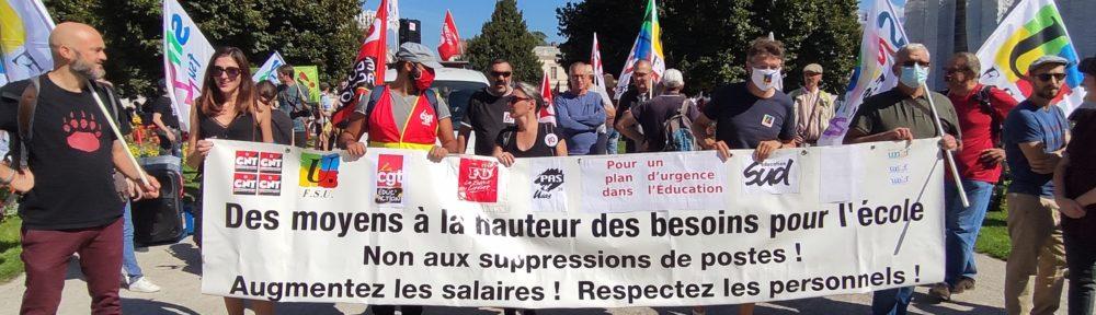 Journée de grève et de mobilisation des enseignants à Grenoble jeudi 23 septembre