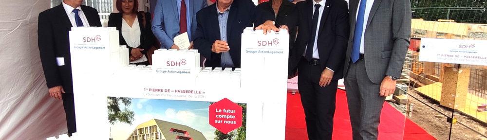 La SDH pose la première pierre de Passerelle, extension de son siège à Échirolles