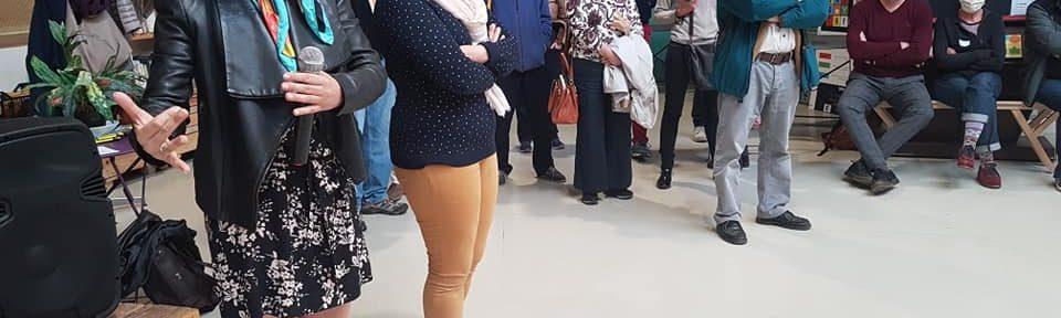 Forum habitants au Patio, Elisa Martin, adjointe aux quartiers populaires de Grenoble, et Chloé Pantel, maire adjointe du Secteur 6, samedi 16 octobre 2021 © Séverine Cattiaux - Place Gre'net