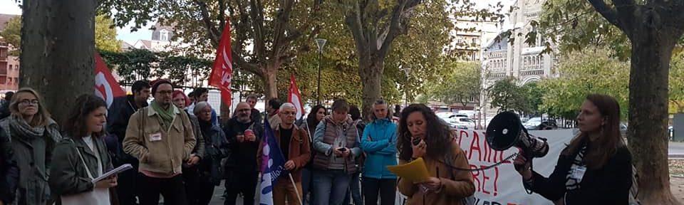 Rassemblement des bibliothèques contre le passe sanitaire, vendredi 22 octobre 2021, devant la bibliothèque Saint Bruno© Séverine Cattiaux - Place Gre'net
