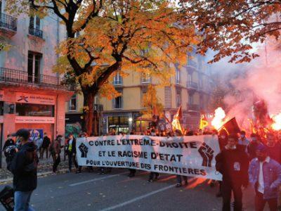 Manifestation contre le racisme et l'extrême droite de ce mercredi 21 octobre 2020 à Grenoble. © Joël Kermabon - Place Gre'net