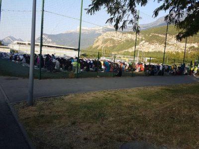 Ceremonie de l'aid au stade de foot de la Luire à Echirolles