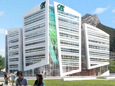 Le futur siège régional du Crédit agricole construit par Eiffage sur la Presqu'Île scientifique sera HQE. Livraison prévue en mars 2018.