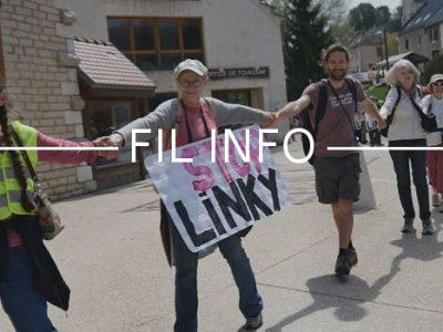 Ce samedi 5 mai 2018, une chaîne humaine à Autrans-Méaudre contre Linky. Copyright Ouiz! Radio