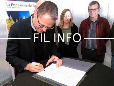 Fil Info cérémonie signature mécénat Parc national des Écrins Valecrin