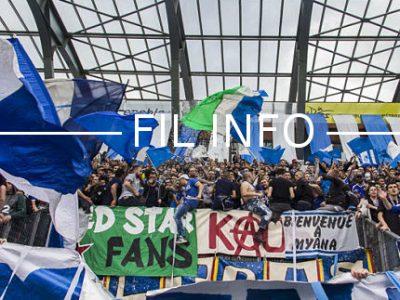 Les Red Kaos 94, des supporters du Grenoble Foot 38, se sont élevés contre les doublons avec le rugby au stade des Alpes. Ils refusent que leur équipe soit obligée de jouer le jeudi maintenant que le FCG est redescendu. La majorité des matches de Pro D2 de rugby se disputent en effet le vendredi soir à 20 heures en même temps que le National 1 de football. © Chloé Ponset