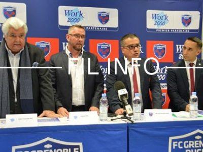Work 2000 devient premier partenaire du FCG rugby pour trois ans à partir de la saison 2018-2019, le 6 avril 2018. © Laurent Genin