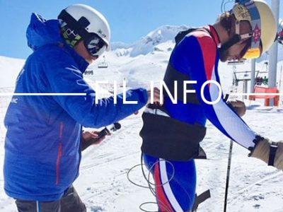 Le capteur de force 3D du Laboratoire inter-universitaire de biologie de la motricité (LIBM) est fixé directement à l'avant et l'arrière de la chaussure du skieur, à l'interface avec la fixation, et relié à une carte d'acquisition et de stockage de données, portée par le skieur. © LIBM