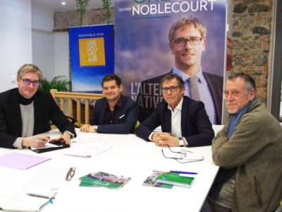De gauche à droite, Olviier Noblecourt et ses colistiers Maxime Gonzalez, Patrick Lévi et Patrice François. © Anissa Duport-Levanti - Place Gre'net