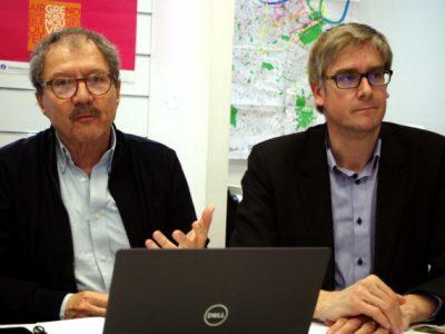 Patrick Criqui (à gauche), est directeur de recherche au CNRS et ancien membre du GIEC. C'est le principal coordinateur du programme écologique de Grenoble Nouvel Air. © Anissa Duport-Levanti - Place Gre'net