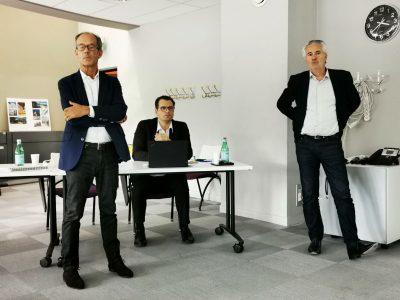 De gauche à droite : Olivier Malfait, PDG de Samse, Laurent Chameroy, directeur général délégué et François Bériot également directeur général délégué. © Joël Kermabon - Place Gre'net
