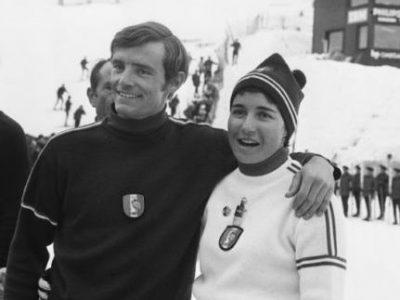 Jean-Claude Killy et Marielle Goitschel sur la piste de Chamrousse lors des Jeux olympiques de 68. Photo Presseports. © Chamrousse