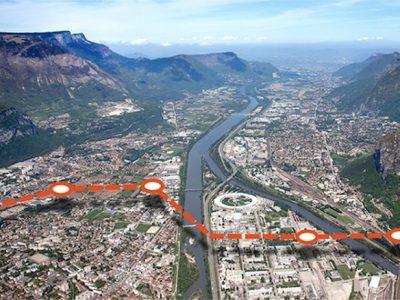 Un projet de transport par câble, urbain, pourrait voir le jour en 2021 entre Fontaine et saint-Martin-le-Vinoux, au Nord-Ouest de Grenoble. Crédit La Métro