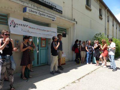 Conférence de presse Réseau d'Education Sans Frontières, école Jean Racine, 5 juillet 2021 (c) Emma Venancie-Place Gre'net