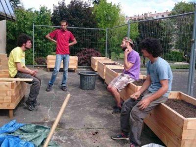 Bacs de culture à Seyssinet © Cultivons nos toits