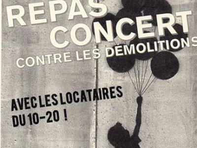 A La Villeneuve, un repas-concert a lieu ce 20 mai contre la démolition des immeubles du 10 et 20 de la Galerie de l'Arlequin, envisagée après celle du 50.