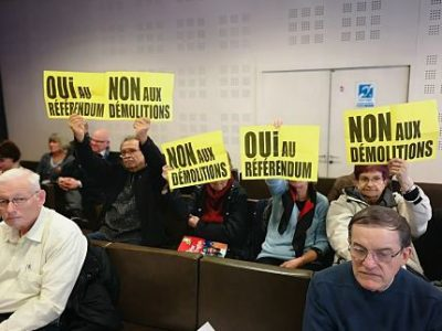 UNE Collectif contre les démolitions imposées lors du conseil municipal de lundi 4 février 2019 © Joël Kermabon - Place Gre'net