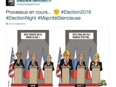 Tweet du conseiller régional Stéphane Gemmani suite à l'élection de Donald trump aux Etats-Unis. DR