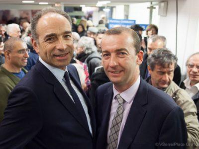 Jean-François Copé président de l'UMP en visite de soutien à la liste de Matthieu Chamussy Croire en Grenoble pour les municipales