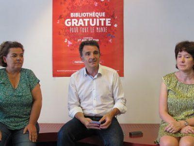 Lancement de la gratuité dans les bibliothèques de Grenoble, Corinne Bernard, Eric Piolle, Isabelle Westeel à la bibliothèque du centre-ville, mardi 2 juillet 2019, © Séverine Cattiaux- Place Gre'net