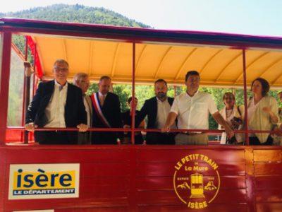 La Mure, 13 juillet 2019, présentation des travaux du Petit Train. (De gauche à droite) Jean-Pierre Barbier, Joël Pontier, Fabien Mulyk, c Isère le Département
