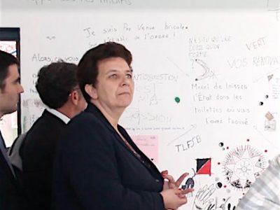 En visite à Grenoble pour deux jours, la ministre de l'enseignement supérieur, de la recherche et de l'innovation Frédérique Vidal en a profité pour visiter le bâtiment du centre des langues vivantes de l'Université Grenoble Alpes (UGA), fortement endommagé par les six semaines d'occupation. © Elisa Montagnat